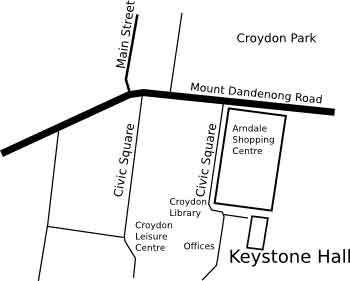 line map showing location of Keystone Hall, Croydon.